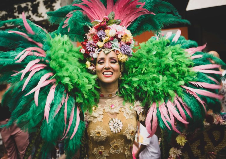 Woman with feathers at the carnival